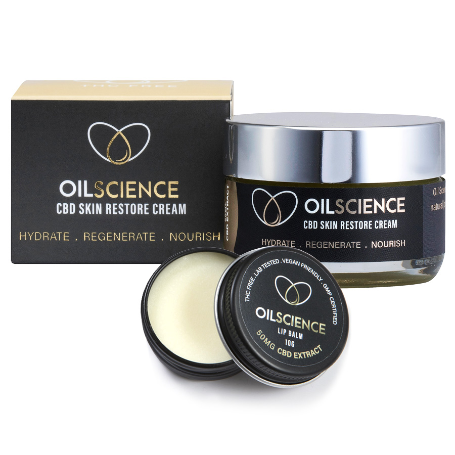 Oil Science Beauty Bundle – CBD Skin Restore Cream And Lip Balm