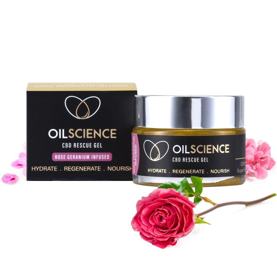 Oil Science CBD Rescue Gel – Rose Geranium – 30ml Jar